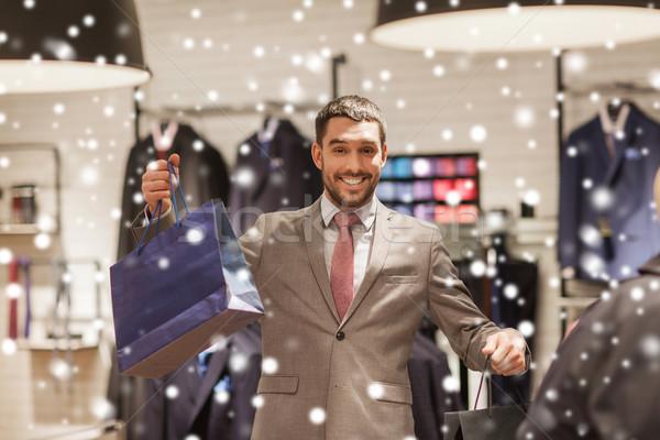Stockfoto: Gelukkig · man · kleding · store · verkoop