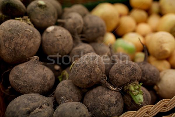 close up of black radish at grocery or market Stock photo © dolgachov