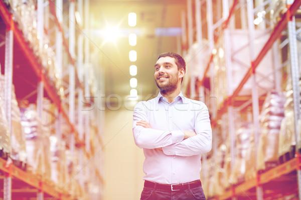 Boldog férfi raktár nagybani eladás üzlet export Stock fotó © dolgachov