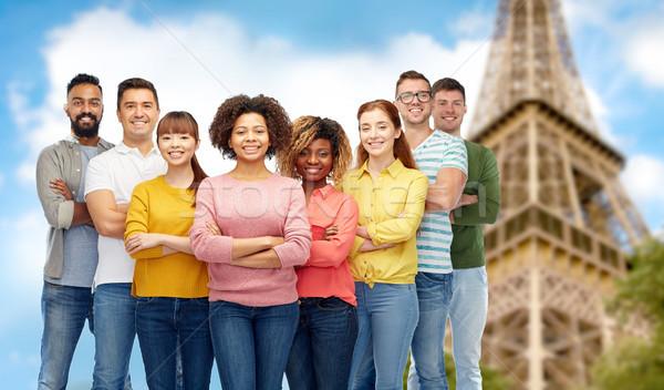 国際 グループの人々  エッフェル塔 多様 旅行 観光 ストックフォト © dolgachov