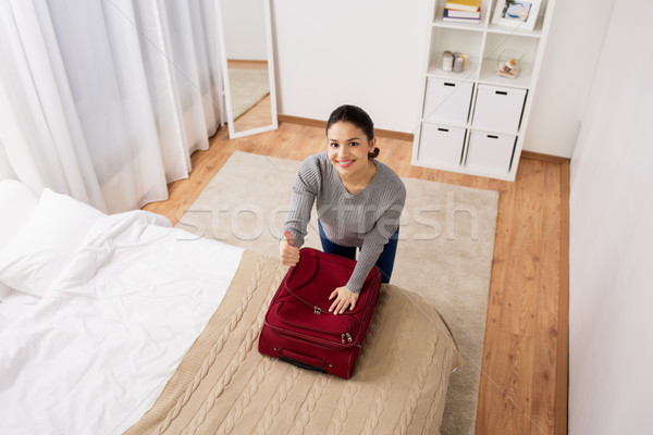 Foto stock: Mulher · viajar · saco