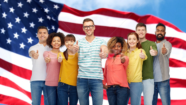 Mutlu insanlar amerikan bayrağı çeşitlilik yarış Stok fotoğraf © dolgachov