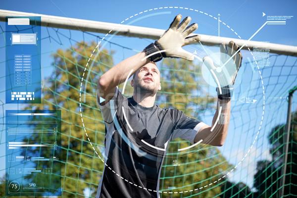 Portero futbolista fútbol objetivo deporte tecnología Foto stock © dolgachov