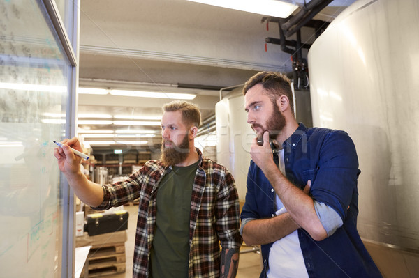 men writing on whiteboard at brewery or beer plant Stock photo © dolgachov