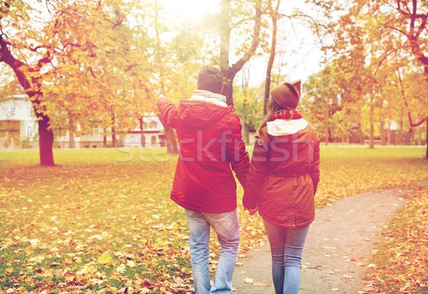 счастливым ходьбе осень парка любви Сток-фото © dolgachov