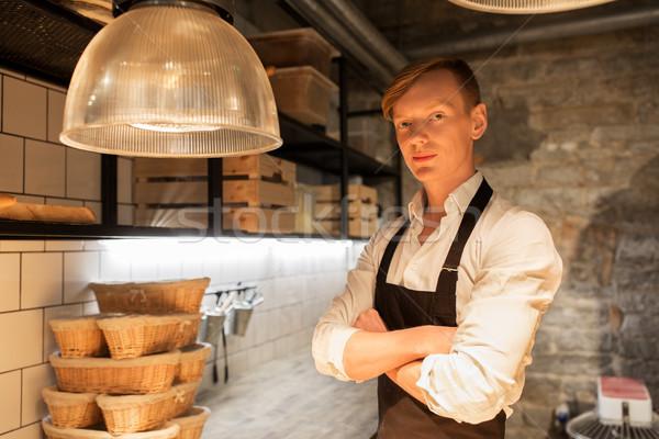 Chef padeiro avental padaria cozinha comida Foto stock © dolgachov