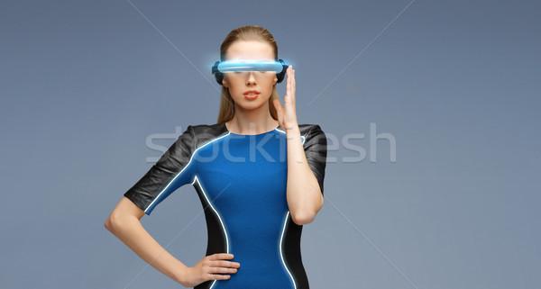 женщину виртуальный реальность 3d очки науки технологий Сток-фото © dolgachov