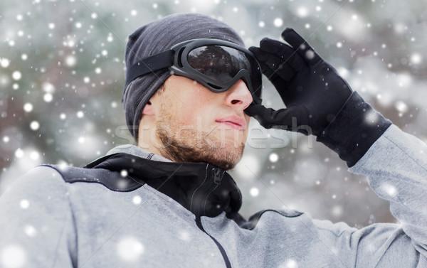 Közelkép sportok férfi síszemüveg tél fitnessz Stock fotó © dolgachov
