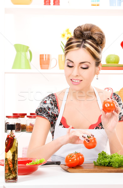 Stockfoto: Huisvrouw · foto · mooie · vrouw · keuken · vrouw · meisje
