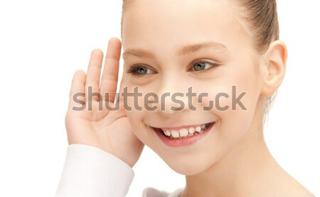 Ascolto pettegolezzi luminoso foto ragazza Foto d'archivio © dolgachov