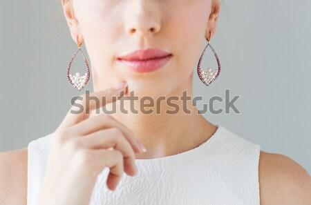 Ghiacciolo ritratto donna bianco faccia bellezza Foto d'archivio © dolgachov