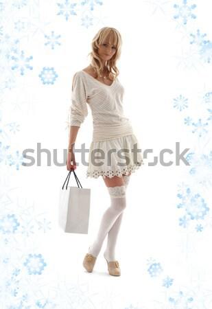 брюнетка элегантный моде снега Сток-фото © dolgachov