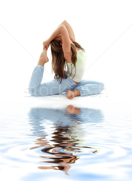 ashtanga yoga on white sand #2 Stock photo © dolgachov