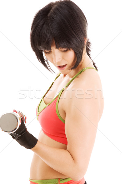 muscular fitness instructor with dumbbells Stock photo © dolgachov
