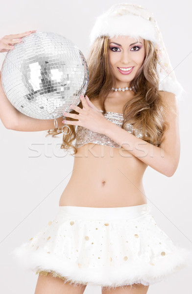 sexy santa helper with disco ball Stock photo © dolgachov