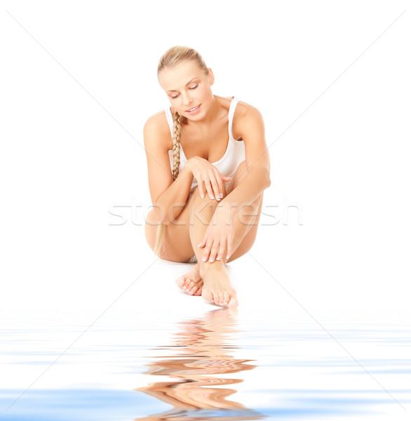 Güzel bir kadın pamuk resim kadın vücut Stok fotoğraf © dolgachov
