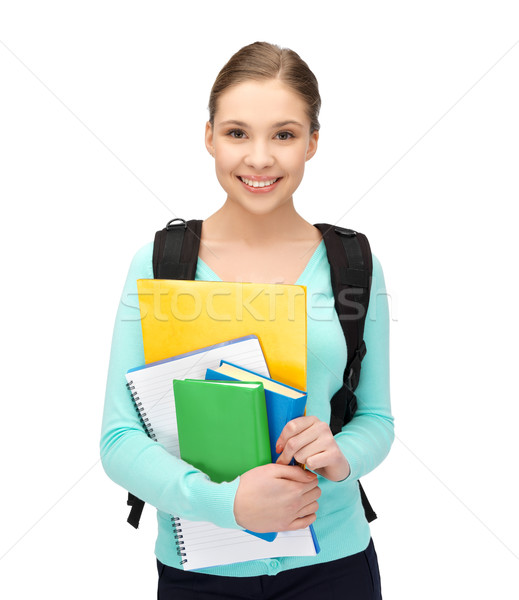 Stock photo: student with books and schoolbag