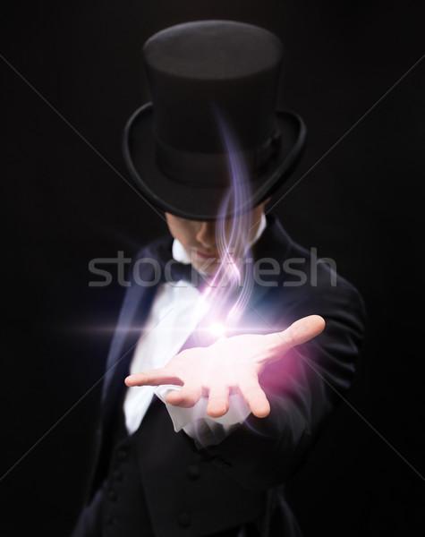 Stock fotó: Bűvész · tart · valami · pálma · kéz · mágikus
