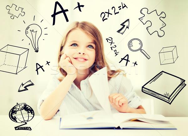 Wenig Studenten Mädchen Studium Schule Bildung Stock foto © dolgachov