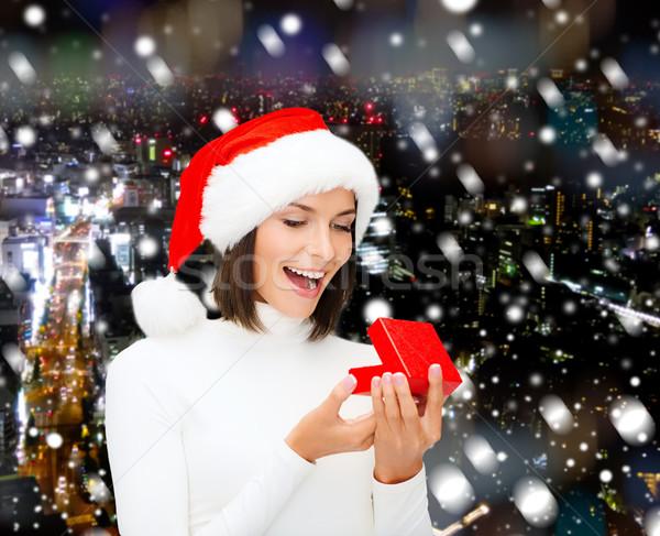 笑顔の女性 サンタクロース ヘルパー 帽子 ギフトボックス クリスマス ストックフォト © dolgachov