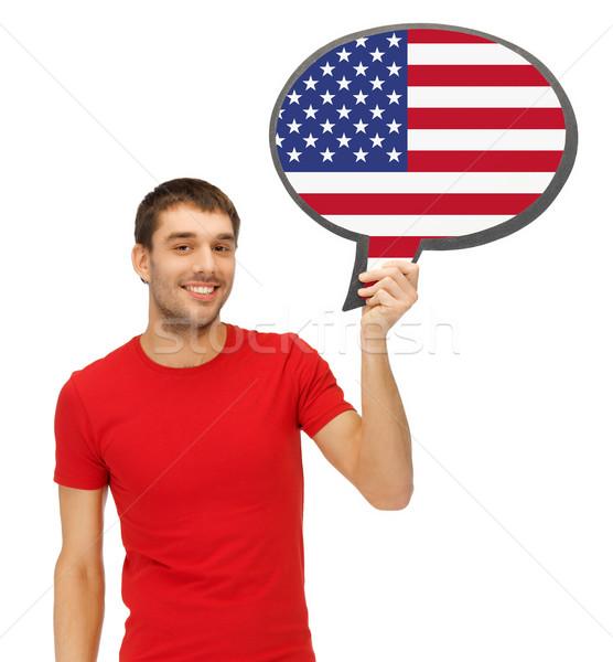 Mosolyog férfi szöveg buborék amerikai zászló oktatás Stock fotó © dolgachov