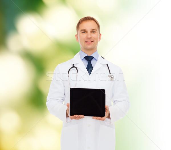 Foto stock: Sonriendo · doctor · de · sexo · masculino · estetoscopio · medicina · profesión