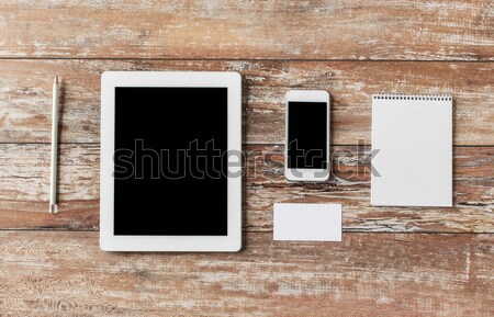 close up of notebook, tablet pc and smartphone Stock photo © dolgachov