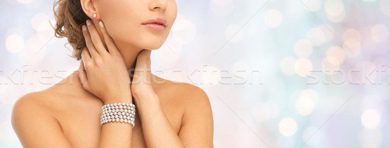 美人 真珠 イヤリング ブレスレット 美 人 ストックフォト © dolgachov