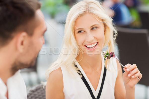 Mutlu çift yeme akşam yemeği restoran teras Stok fotoğraf © dolgachov
