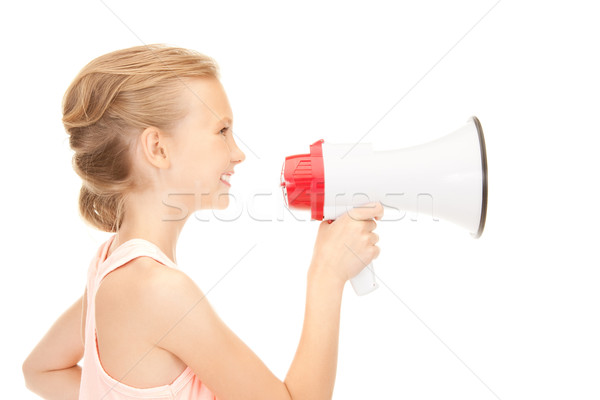 girl with megaphone Stock photo © dolgachov