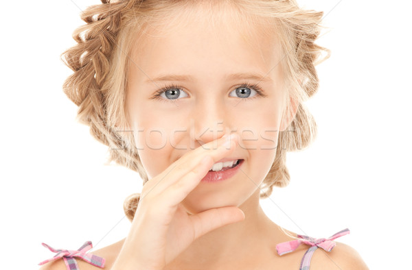 Fofoca brilhante quadro menina mão Foto stock © dolgachov