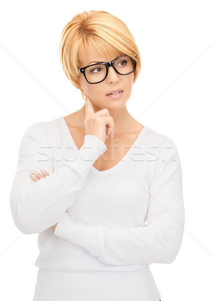 pensive businesswoman over white Stock photo © dolgachov