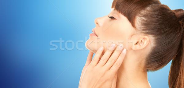 Belo mulher jovem cara vista lateral beleza pessoas Foto stock © dolgachov