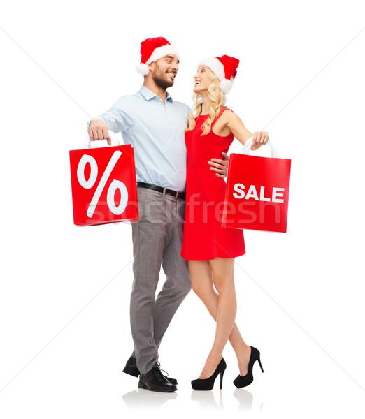 Foto stock: Feliz · casal · vermelho