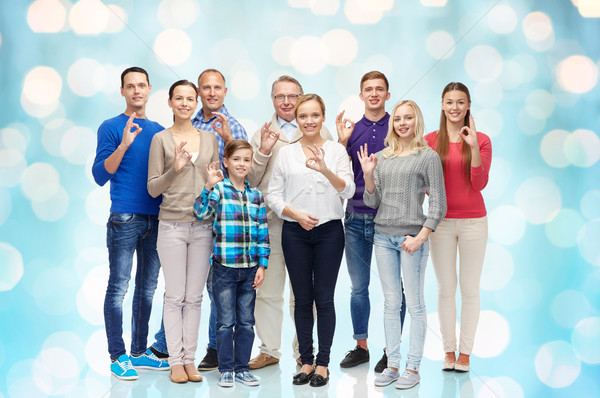 group of happy people showing ok hand sign Stock photo © dolgachov