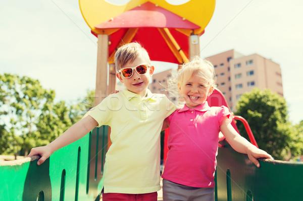 Due felice ragazzi bambini parco giochi Foto d'archivio © dolgachov