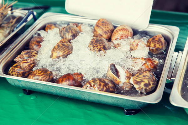 Mariscos hielo Asia calle mercado cocina Foto stock © dolgachov