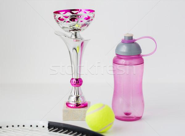 Közelkép teniszütő labda csésze üveg sport Stock fotó © dolgachov