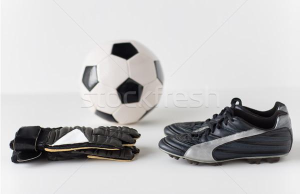 Stok fotoğraf: Kaleci · eldiven · top · futbol · bot