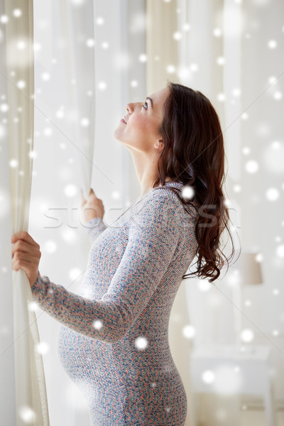Stock fotó: Boldog · terhes · nő · nyitás · függönyök · otthon · terhesség