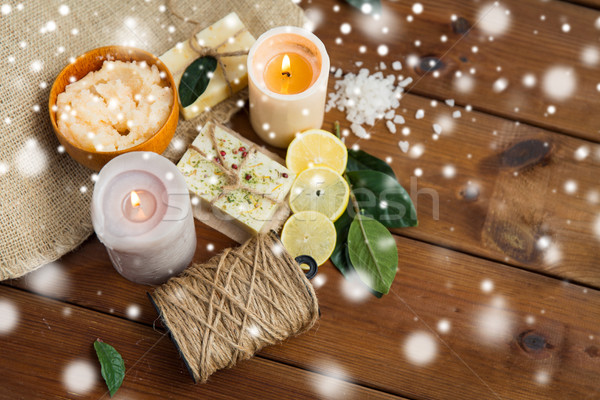 natural soap and body scrub with candles on wood Stock photo © dolgachov