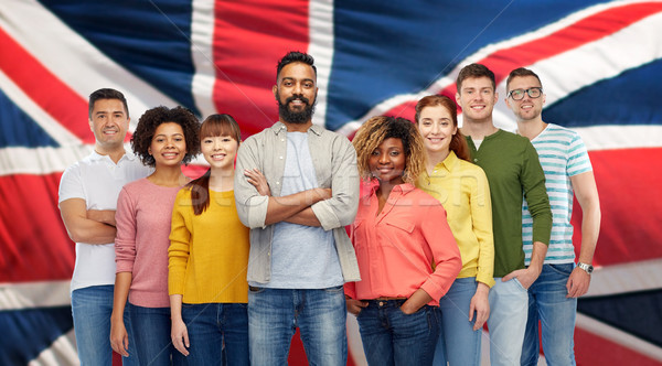 international group of people over british flag Stock photo © dolgachov