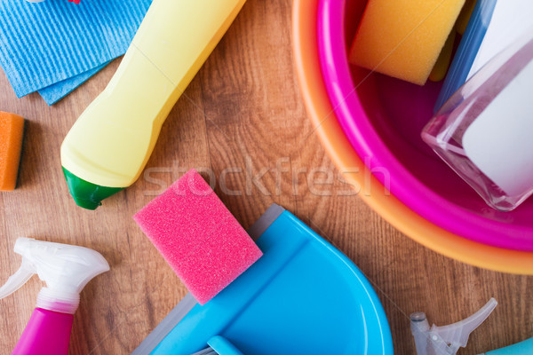 basin with cleaning stuff on wooden floor Stock photo © dolgachov