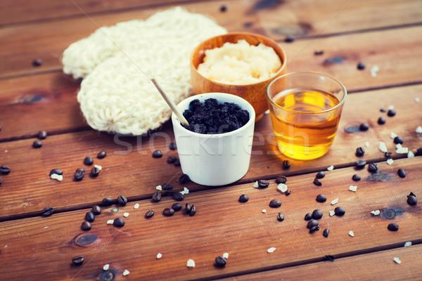 Közelkép kávé bozót csésze méz fa Stock fotó © dolgachov