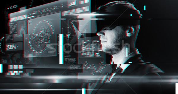 человека виртуальный реальность гарнитура 3d очки киберпространство Сток-фото © dolgachov