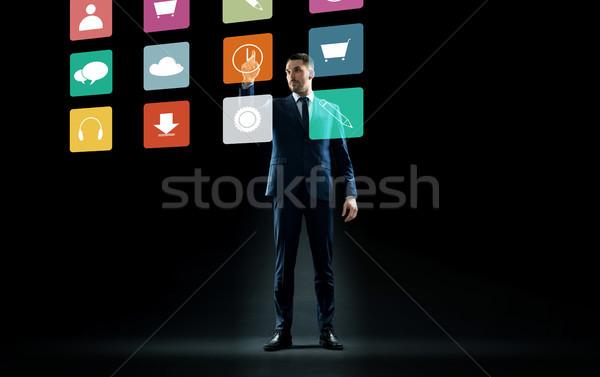 ビジネスマン スーツ 触れる バーチャル メニュー アイコン ストックフォト © dolgachov