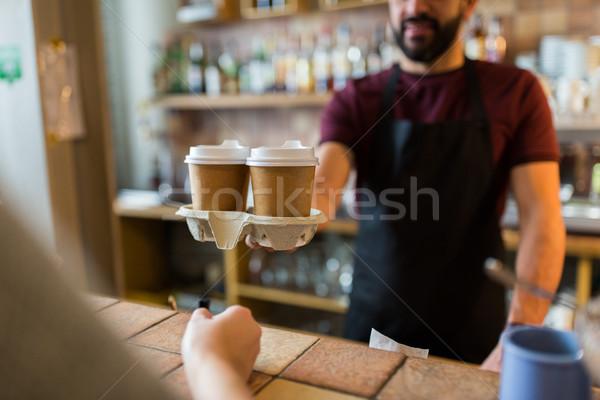 человека бармен клиентов кофейня малый бизнес Сток-фото © dolgachov
