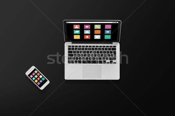 Computador portátil menu ícones multimídia tecnologia Foto stock © dolgachov