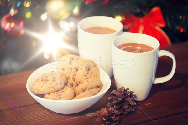 Haver cookies warme chocolademelk kerstboom vakantie winter Stockfoto © dolgachov