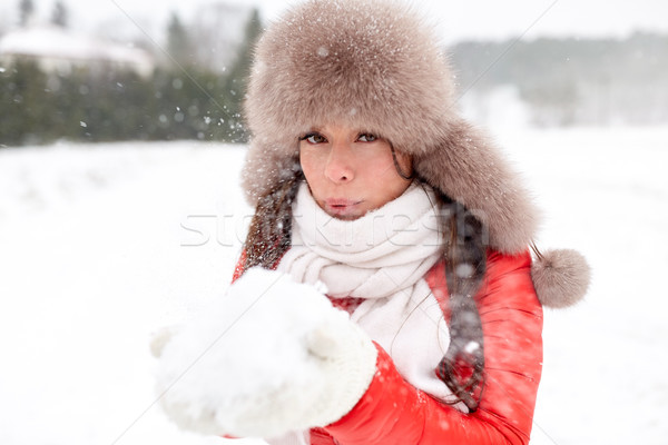 happy woman with snow in winter fur hat outdoors Stock photo © dolgachov